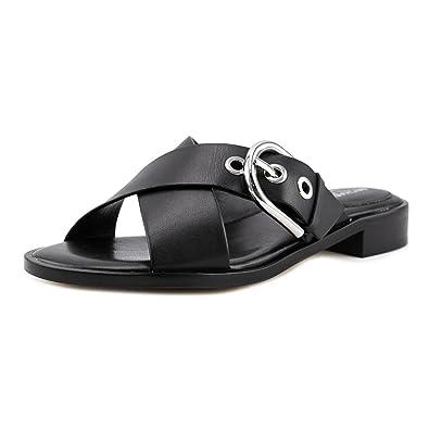 54e8ae548b4 Michael Michael Kors Women s Cooper Black Leather Flat Sandals 7 B US Women
