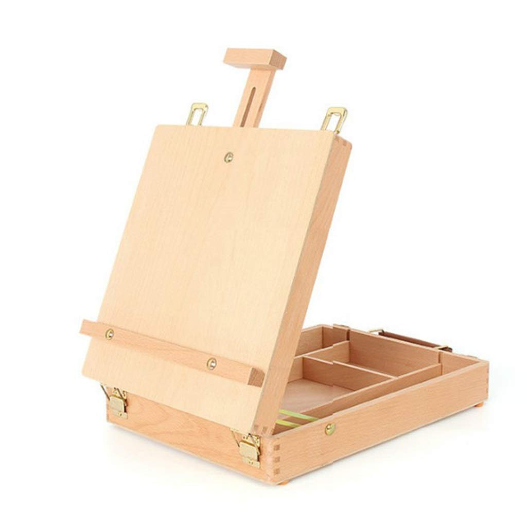 QTT Portable Picture Box, Wooden Art Box, Portable Oil Painting Box, Watercolor Sketching Box, Desktop Easel, Liftable Picture Box