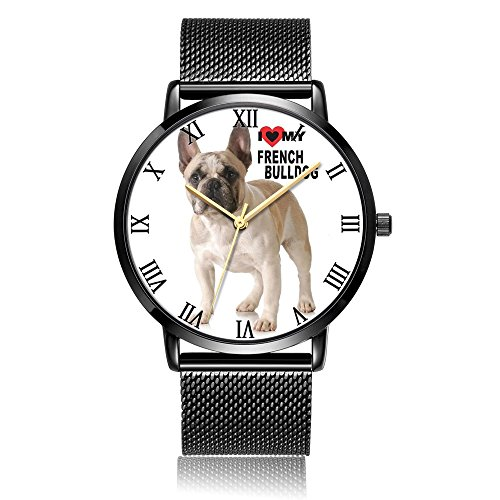 French Bulldog Wrist Watch, LONHAO Personalized Unisex Silver Steel Waterproof Band Wrist Watch for Women&Men (Sport Bulldogs Steel Watch Tech)