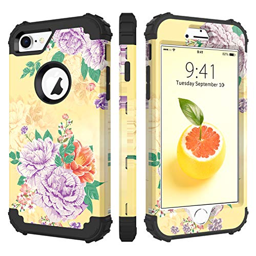 BENTOBEN Case for iPhone 7/iPhone 8, 3 in 1 Hybrid Hard PC Soft Rubber Heavy Duty Rugged Bumper Shockproof Flower Design Anti Slip Three Layers Full Body Protective Phone Cover for iPhone 7/8, Yellow