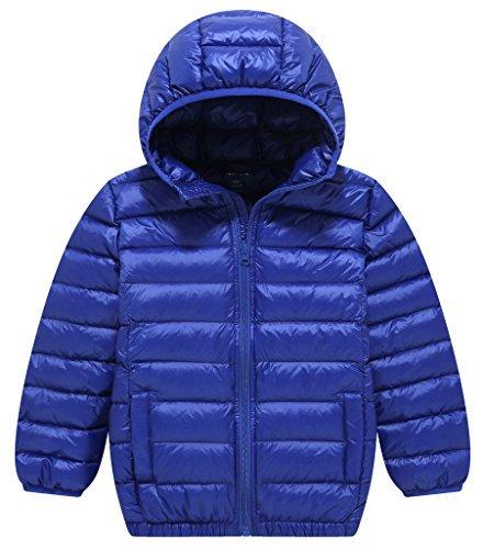 ZSHOW Boy's and Girl's Lightweight Packable Down Jacket Hooded Outwear Puffer Coat,9-10Year,Sapphire Blue