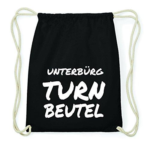 JOllify UNTERBÜRG Hipster Turnbeutel Tasche Rucksack aus Baumwolle - Farbe: schwarz Design: Turnbeutel JhR6VbBY