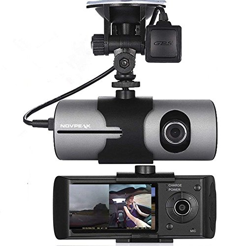 [US Stock] NOVPEAK 2.7 Inch TFT LCD Full HD Front & Rear Dual Camera Vehicle Car DVR Dash Cam Recorder Camcorder with 140 Wide Angle Lens, G-Sensor and GPS Trader - Retail Packing, Black (Mounting Degree Kit 140)