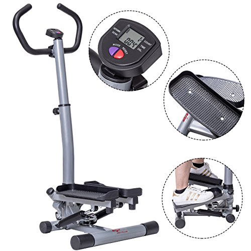 Goplus Stair Stepper Twister 2 in 1 Step Machine Fitness Exercise Workout with Handle Bar and LCD Display Cardio Trainer Stair Climber by Goplus (Image #2)