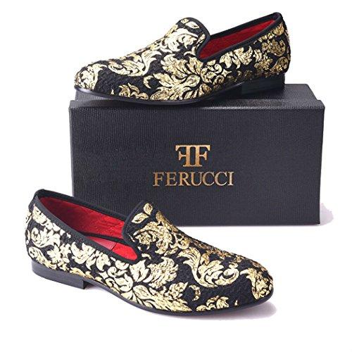 Ferucci Heren Plateauzool Van Zwarte Stoffen Loafers Met Goudkleurige Print