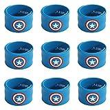Ecparty Superhero Slap Bracelet for Kids Boys & Girls Birthday Party Supplies Favors (9 pack) (Captain)