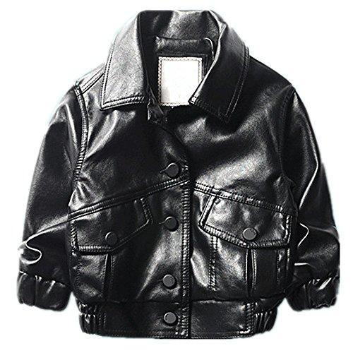 Aviator Jacket Coat - LJYH Boy's Soft Pu Leather Aviator Jacket with Two Big Side Pockets
