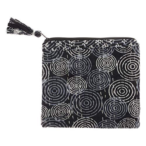 (Bops Handcrafted, Unique, Kantha Fabric Zipper Bag, Ladies Makeup Bag, Boho Style Fabric Pouch, Travel, for Women (Black Medium))