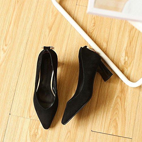 VSR Zapatos de Tacón Alto Puntiagudos con Hebilla Redonda de Temperamento Grueso con Zapatos de Mujer UN