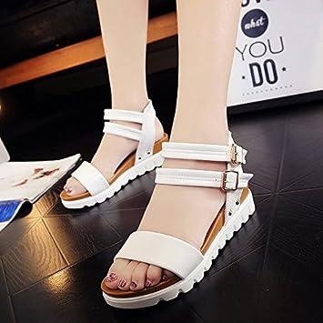 La pente de la fille avec léger Sandales à fente minimaliste et polyvalente Boucle Chaussures pour femme, noir, 36