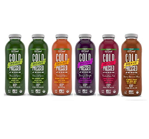 7-Select Organic Cold Pressed Juice - New Variety Pack (14 Oz Glass Bottles, 6-Pack)