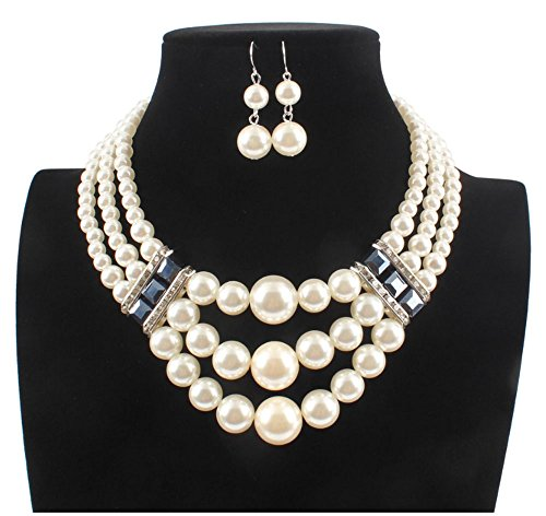 Shineland Elegant Simulated 3-laryered Multi-Strand Pearl And Big Glass Beads Cluster Collar Bib Choker Necklace Earring Sets (White)