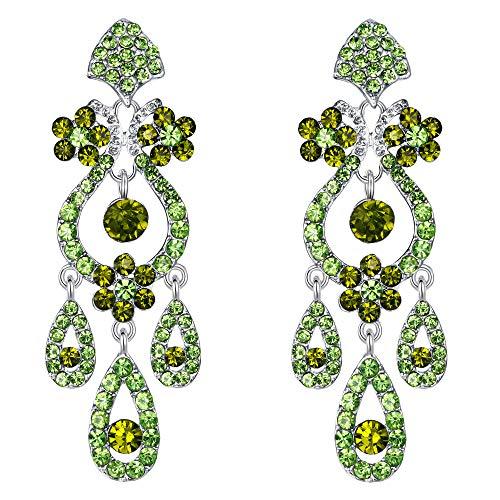 EVER FAITH Bridal Silver-Tone Flower Vase Chandelier Pierced Dangle Earrings Austrian Crystal ()