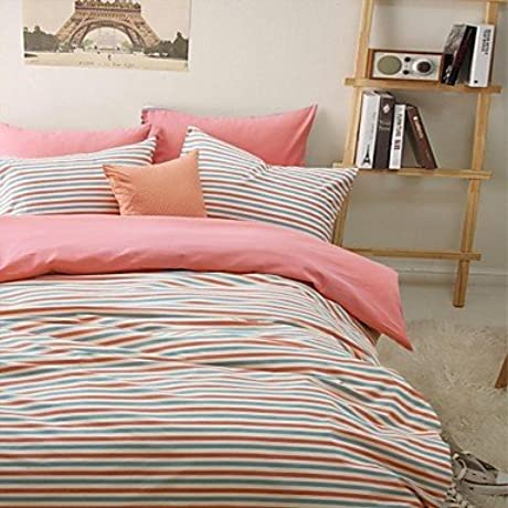 Naluo 100 Cotton Sanded Fabric Duvet Cover Set 3 Pieces Stripe Norway Style