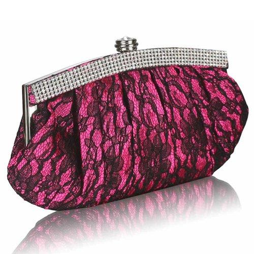 Bride Boutique Floral Lace & Diamante Vintage Style Evening Clutch Bag (Fuchsia Pink)