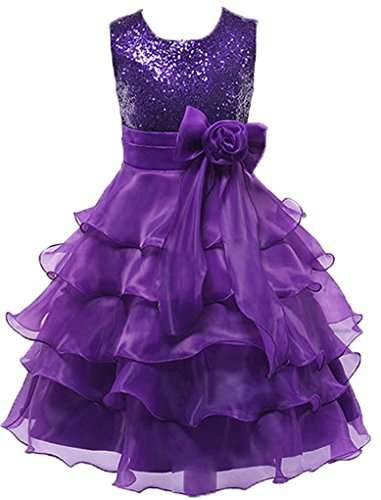 Big Girls Sequins Ruffled Flower Girl Birthday Pageant Dress Purple 11-12