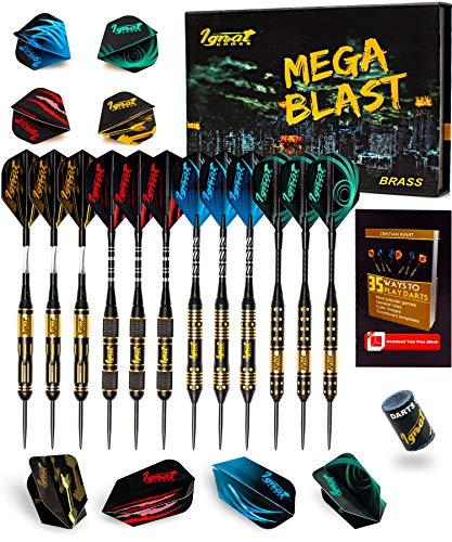 IgnatGames Steel Tip Darts Set - Professional Darts with Aluminum Shafts, Rubber O'Rings, and Extra Flights + Dart Sharpener + Innovative Case + Darts Guide (Mega Blast)
