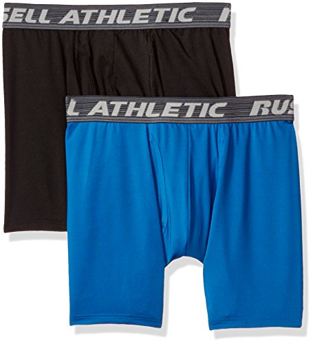 Russell Athletic Men's Performance Boxer Brief Underwear, Black/Blue, L...