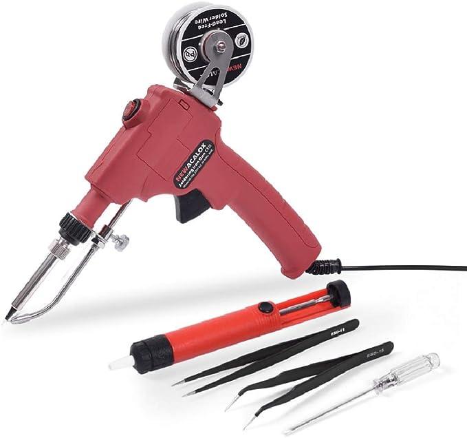 Auto Soldering Gun Kit 110V 60W with Welding Desoldering Pump Tin Wire/&6 Tweezes