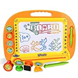 Magnetic Drawing Board, Hmane Kids Writing Board Erasable Doodle Painting Toy Plastic Magnetic Drawing Board with 4 Stamps and 1 Pen