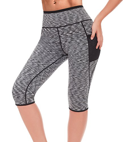 LAZAWG Running Yoga Pants Sauna Suits Sweat Capri Legging Weight Loss with Pocket