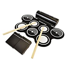 Pyle Electric Roll up Drum Kit with Built in Speakers-Compact Drumming Machine, Quick Setup Design (PTEDRL12)