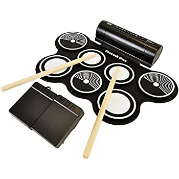 Pyle Electronic Roll Up MIDI Drum Kit W/ 7 Electric Drum Pads, Built-In Speakers, Foot Pedals, Drumsticks, & Power Supply Tabletop Roll Up Drum Kit   Loaded W/ Drum Electric Kits & Songs (PTEDRL12)