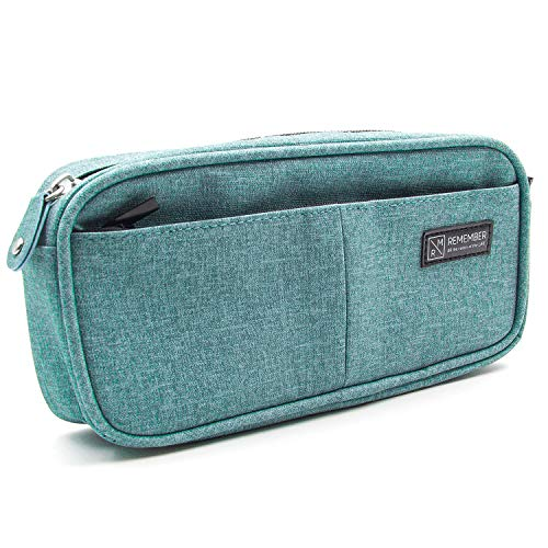 Exsun Pencil Case, Big Capacity Storage Pen Pencil Bag Pouch Holder for School/Office Stationery Organizer, Cosmetic and Travel Storage (Green)