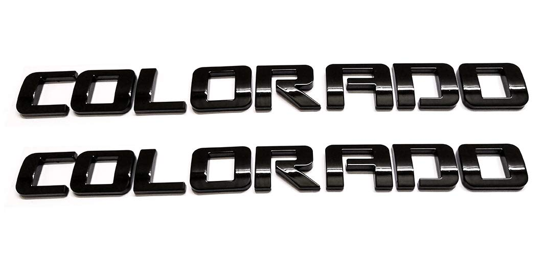 2pcs Black COLORADO Nameplate Emblem Plastic Letter Badge Replacement for Gm 07-16 Chevrolet Glossy Emzscar