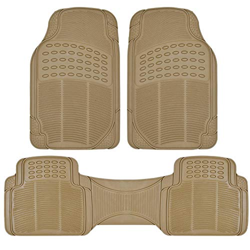 Pro Liner Original 3pc Heavy-Duty Front & Rear Rubber Floor Mats for Car SUV Van & Truck - All Weather Protection Universal Fit (Beige) ()
