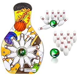 Kidsco Miniature Bowling Game Set -12 Pack Deluxe Kids, Playing, Party, Fun, Boys, Girls, Bowlers Etc