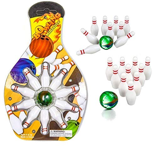 Bowling Party Favors (Kicko Miniature Bowling Game Set - 12 Pack Deluxe - for Kids, Playing, Party, Fun, Boys, Girls, Bowlers)
