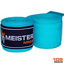 """Meister Junior 108"""" Elastic Cotton Hand Wraps for MMA & Boxing (Pair) - Turquoise"""