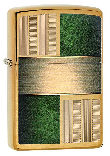 Zippo Emerald Square Design Pocket Lighter, Brushed Brass