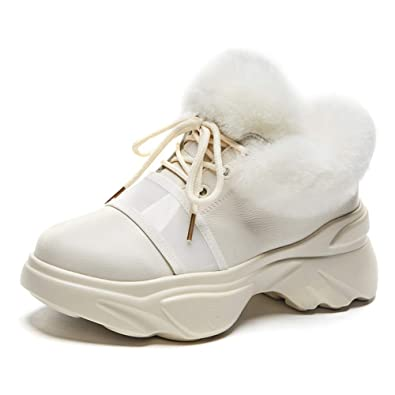565be27bad41b3 Shevalues Canvas Platform Sneakers High Heel Sneakers Casual White Lace Up  Wedge Sneakers for Women White