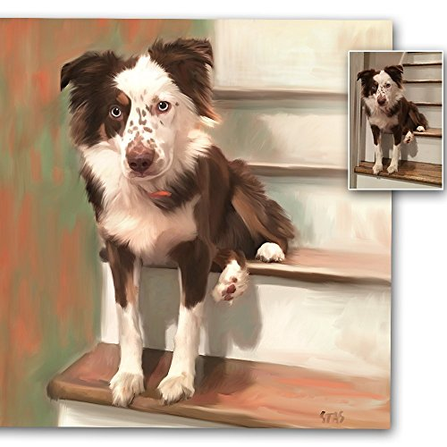 Custom Dog Portrait On Canvas, Portrait From Photo, Personalized Customized Painting, Acrylic Oil Watercolor, Pets, Dogs, Cats, (Dog Watercolor Painting)