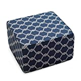 Indoor/Outdoor Square Pouf Ottoman Made with Spun Polyester Fiber in Nautical Knots Finish 25L x 25W x 15H in.