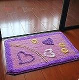 Floor mat doormat absorbent bathroom mat hall kitchen toilet toilet mats home (40x60, Purple love)