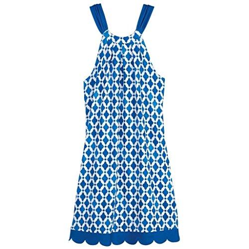 Natalie Bow Dress Blue Tiles