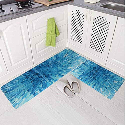 2 Piece Non-Slip Kitchen Mat Rug Set Doormat 3D Print,Mosaic Patterns and Extending Blocks Abstract,Bedroom Living Room Coffee Table Household Skin Care Carpet Window - Table Extending Windsor