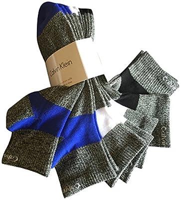 Calvin Klein Men's Ankle Socks, Shoe Size 7-12, White Black Grey (Pack of 6)