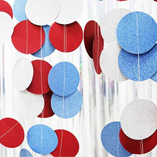 4 Pack, 28 Ft Circle Dots Paper Garland white/blue/red For National Day/ patriotic activities/ 4th of July/ Wedding Decorations/ Baby Shower/ Table Decorations