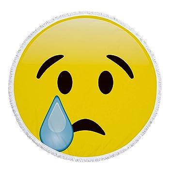 Emoji Lindo Sonriente Manta de Toalla de Playa Redonda de Microfibra, diseño de impresión Personalizado, Secado rápido, Cómoda Alfombra de Playa: Amazon.es: ...