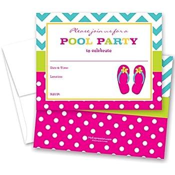 7d11fc6eece1 Amazon.com  Girl Emoji Pool Party Birthday Invitations