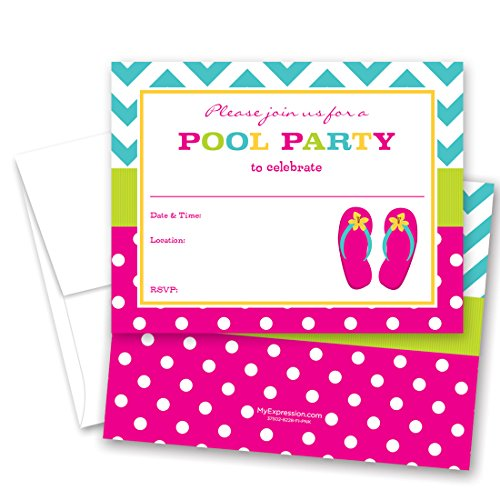 24 Fill-in Girl Flip Flops Pool Party Invitations -
