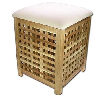 BAD Sitzbank Wäschetruhe Wäschekorb Walnuss Hocker Modell ELECSA 0330