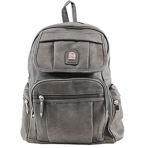 Haute für Diva S NEU Kunstleder mehrere Taschen Damen Herren Unisex Schultaschen Reise Rucksack - Blau, Medium grau