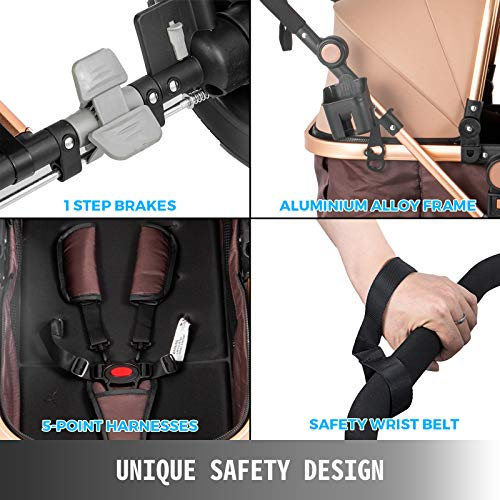 5198K8Q9WCL - VEVOR Baby Stroller 2 In 1 Stroller Bassinet Stroller Foldable Anti-Shock Newborn Stroller Baby Carriage Stroller Luxury Baby Trend Stroller Stroller For Baby Pram Stroller