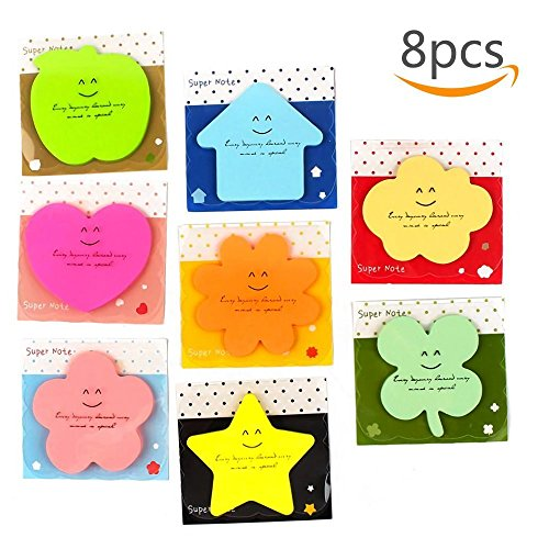 Sticky Notes Carnatory Self-Stick Notes Memo Notes, Paper Memo, Paper Notes Value Pack for Students, Office and Home Use(Heart, Leaf, Star, Apple, Flower, House,Clouds Shaped etc (Random) (Shaped Flower Post)