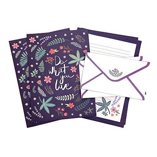Dahey 32Pcs Floral Stationery Sets with 16Pcs Matching Envelopes, Lined Papers for Writing Letters, Purple